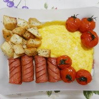 Airline Inspired Omelette and Sausage Breakfast