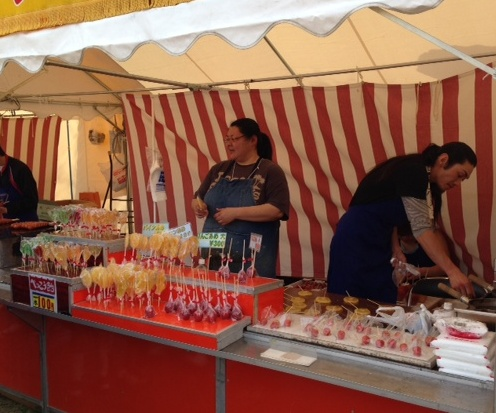 caramelized fruits stall